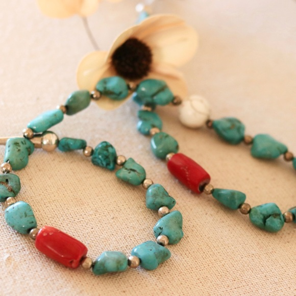 Jewelry - Genuine Turquoise/Coral/White Buffalo Necklace